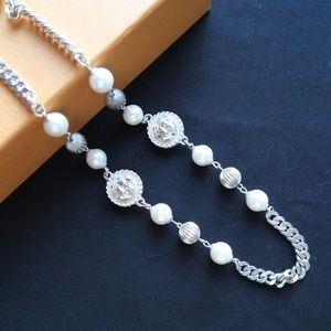 Silver and Pearl Long Necklace